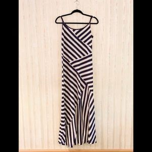Anthropologie Grey and Navy Maxi Dress